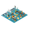 isometric industrial factory concept vector image vector image