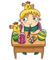 Easter kid vector image