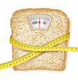 Weighing scales in form of a bread slice and vector image