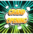 Grand opening comic book bubble text retro style vector image