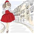 Beautiful fashion girl top model in summer dress vector image