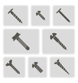 monochrome icons with screws vector image