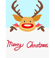 red nosed reindeer christmas card with handwritten vector image