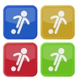 set of four square icons - football soccer player vector image