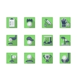 Square flat green icons for golf sport vector image