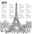 hand drawn of eifel tower 2013 calendar Paris vector image vector image