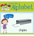 Flashcard letter S is for staples vector image