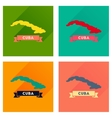 Concept flat icons with long shadow map of Cuba vector image