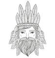 zentangle Portrait of Man with Mustache beard war vector image
