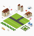 isometric retro set 3d urban module of the city vector image vector image