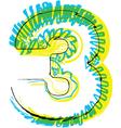 Sketch font Number 3 vector image vector image