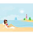 summer beach girl in bikini vector image vector image