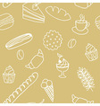 Edible seamless pattern with bread rolls cakes vector image