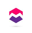 Letter M cube logo icon design template elements vector image