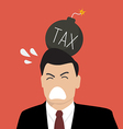 Businessman with tax bomb on his head vector image