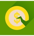 Flat icon with long shadow dollar cent vector image