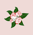 boutonniere rose with leaves vector image