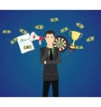 businessman think with money graph goals as a vector image