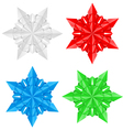 four colorful paper snowflakes vector image