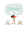 hand drawn cartoon summer time fun vector image