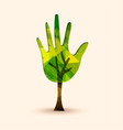 Hand tree green environment help vector image
