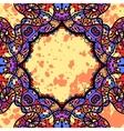 Oriental stylized mandala frame over yellow vector image