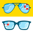 Sunglasses with sea vector image