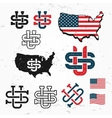 Made in USA monogram set Vintage America vector image