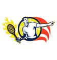 Tennis Player Flaming Racquet Ball Retro vector image