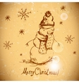 Hand-drawn vintage greeting card with snowman vector image