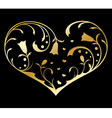Gold heart with floral decorations vector image vector image