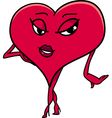 female heart cartoon character vector image vector image