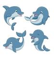 Cute cartoon dolphins set vector image vector image
