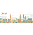 Abstract Zurich Skyline with Color Buildings vector image
