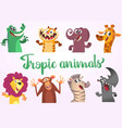 cartoon tropic wild animals set vector image
