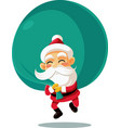 santa claus with a big bag of presents cart vector image