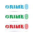 set of crime fingerprint on white background vector image
