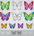 set of different colored butterflies vector image