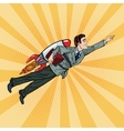 Pop Art Businessman Flying on Rocket Start Up vector image