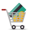 shopping cart online money credit card coin design vector image