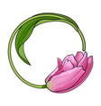 round frame formed by pink tulip flower place for vector image vector image