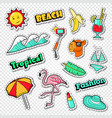 beach vacation stickers tropical holidays doodle vector image vector image
