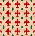 Retro fold red Fleur-de-lis and green diamonds vector image