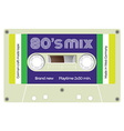 Vintage cassette with lettering title Eighties mix vector image