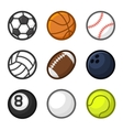 Sport Balls Cartoon Style Set on White Background vector image