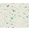 Blue colored seagulls silhouettes pattern vector image