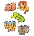five african animals vector image