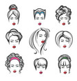 hand drawn hair style set vector image