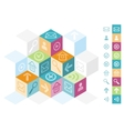 Modern cube box concept for office icons vector image