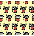 Seamless pattern cute cats with hearts vector image